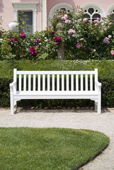 Garden bench in landscaped setting