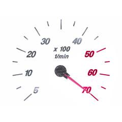 Tachometer RPM on white