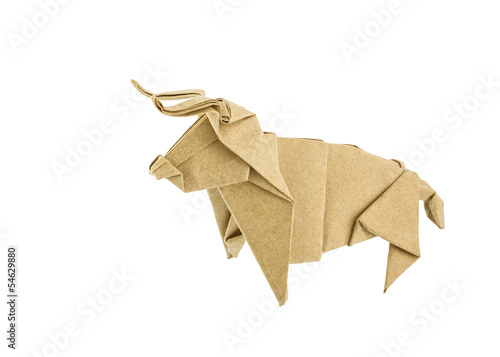 Origami bull recycle  paper isolated on white background - 54629880