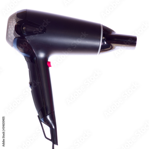 Black hair dryer on a white background
