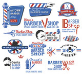Set of Barber Shop Signs, Symbols and Icons