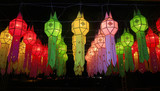 colorful Lanna lantern festival decoration , Chiang Mai ,Thailan
