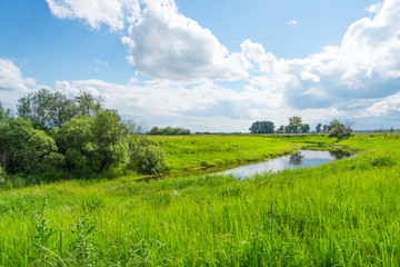 Peaceful rural landscape with river in wide field