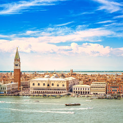 Venice aerial view, San Marco and Doge Palace. Italy