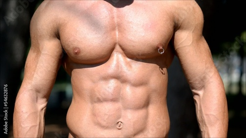 Very muscular male torso, pecs, abs, arm muscles. Vertical pan