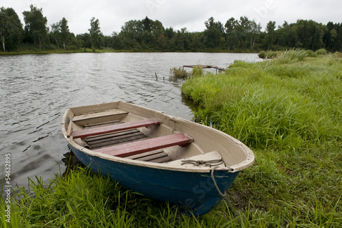 Fishing boat on the shore of Lake
