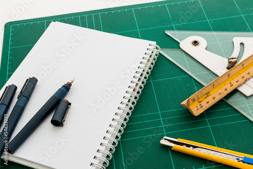 Cutting mats , Pen drawings , adjust angle tool , scale ruler ,