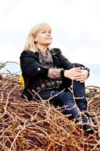 woman in fall time