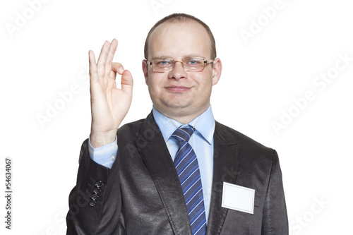 Businessman showing hand gesture ok