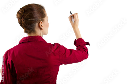 Businesswoman writing with copyspace