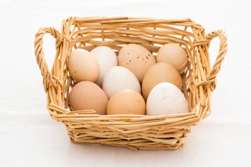 cestino con uova su sfondo bianco