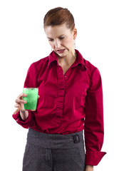 woman grossed out by green vegetable juice