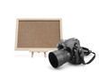 Cork board with digital camera
