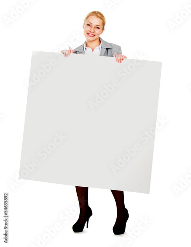 Young woman with blank board banner