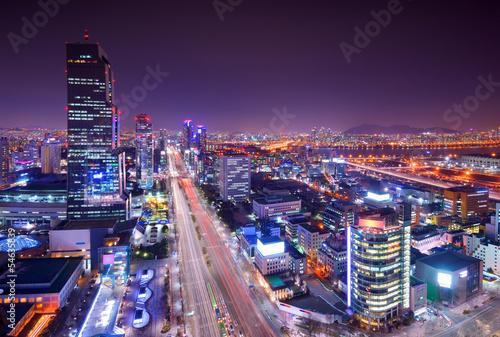 Poster Seoul, South Korea Gangnam District Skyline