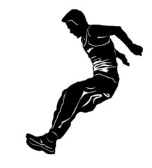 Vector drawing jumping man. Silhouettes athletes
