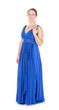 Full lenght portrait of a beautiful young woman in blue dress