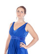 Portrait of a beautiful young woman in blue dress