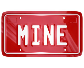Mine Word Red Vanity License Plate Auto Car