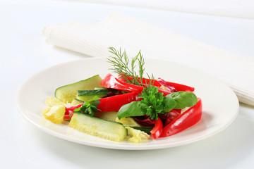Red bell pepper and cucumber sticks