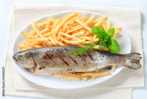 Grilled trout with French fries - 54638227