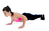 woman doing push ups isolated