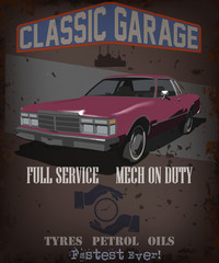 garage service poster vector illustration