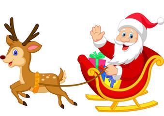 Santa drives his sleigh