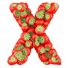 Letter - X made of Strawberry. Isolated on a white.