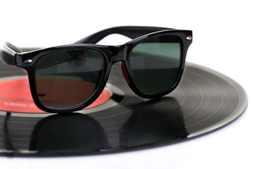 Vinyl disc LP with sunglasses
