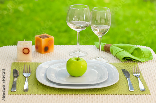 Diet concept. a plate served with one apple