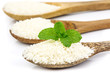 Rice grain on wooden spoon arrange in row