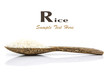Rice grain on wooden spoon
