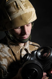 British Soldier With Respirator