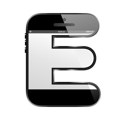 conceptual modern art design of the alphabet letter E