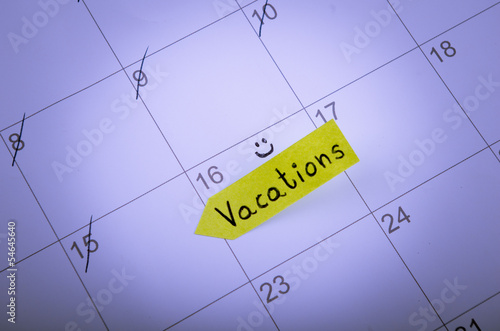 Vacation day is marked on a calendar
