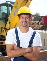 Sympathischer Bauarbeiter mag seinen Job