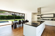Modern villa, interior, beautiful  kitchen and dining table