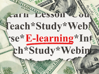 Education concept: E-learning on Money background