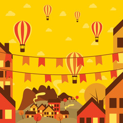 Autumn small town with air balloons. Vector illustration.