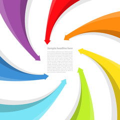 Background with rainbow arrows. Vector illustration.