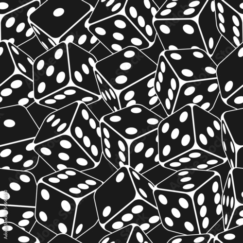 Dice seamless background pattern. Vector illustration.