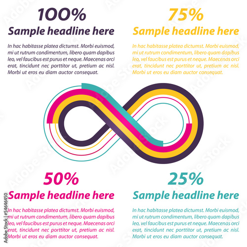 Infinity shape for infographics. Vector illustration.