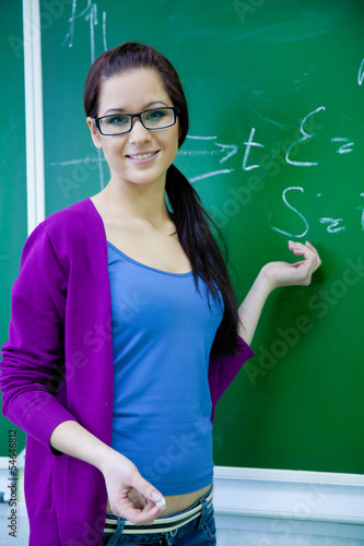 woman  teacher background the school board
