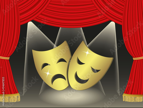 Theatrical masks on red cutains background