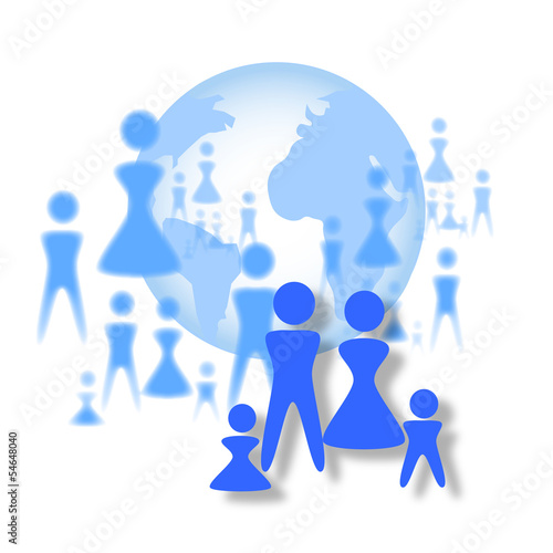 Earth Globe and Crowd vector