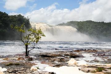 Hacha Waterfall in Canaima Lagoon (Venezuela)