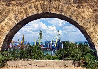 View on Odessa sea port, Ukraine.