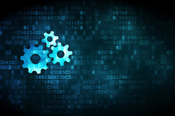 Finance concept: Gears on digital background