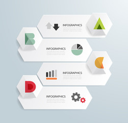 Modern Design Minimal style infographic template with alphabet